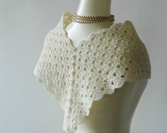Cream bridal shawl with button back, wedding wrap, bridal scarf, crochet wedding shawl - ready to ship