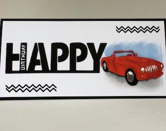 Car Birthday Card Etsy