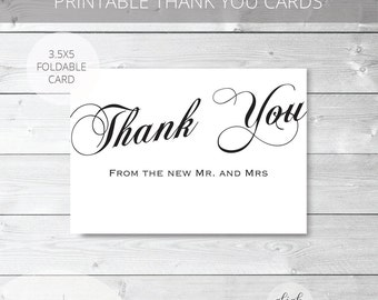 Printable Wedding Thank You Cards (Folded) | Thank You from new Mr. and Mrs.  | Instant Download | 5x3.5 | DIY Printable/Digital File | r002