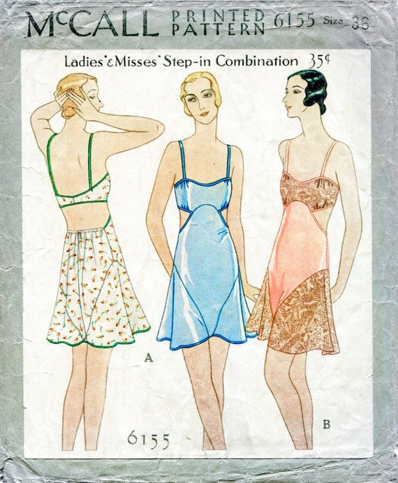 1920s Patterns – Vintage, Reproduction Sewing Patterns 1930s 30s vintage lingerie sewing pattern romper bodysuit lace teddy bust 36 b36 English & French reproduction $18.50 AT vintagedancer.com