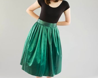 SALE Vintage Emerald Green Party Skirt / Night Life Rothschild San Francisco / Deadstock / M/L
