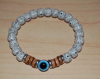 Blue Evil Eye Charm,Star Moon Beads,Elastic Bracelet Fit All,Pray,Yoga,Spiritual