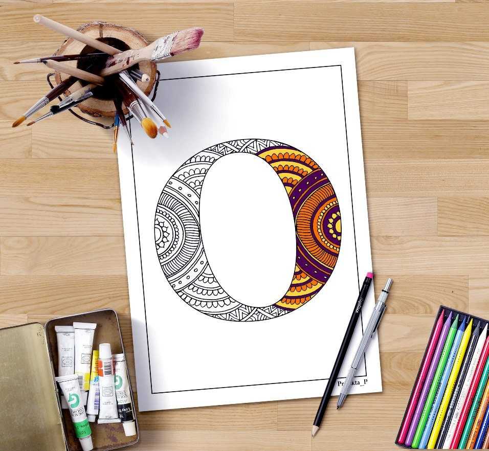 zentangle alphabet coloring page letter o henna doodle
