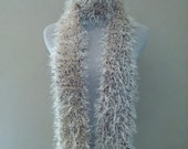 Crocheted knit fun fur skinny scarf, crochet knit extra long scarf in antique white, caramel, and cream, so very soft, squishy, and warm