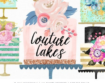 Couture Cake Clip Art   Layered Tiers Cakes & Flowers Digital  Graphics   Scrapbooking, Cards, Planner Stickers     Glitter Cliparts