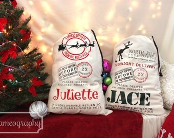 THREE (3) Personalized Christmas Santa Sacks Holiday Gift Bags Totes Canvas- Santa Claus Sleigh Reindeer Customized