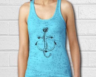Anchor tank top, Womens Nautical clothing, Nautical Shirt, Crossfit tank, Womens Tank, Workout clothes, Tank Top, Yoga Shirt, burnout tank