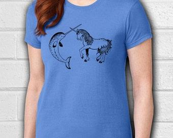 Narwhal, Narwhal shirt, Unicorn, Unicorn shirt, Animal shirt, Womens tees, Womens tshirts, Ladies tops, Animal t shirt, Whale shirt, Fantasy