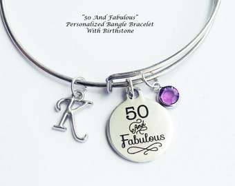 50th birthday. 50th birthday gift for women, Fiftieth Birthday. 50 and Fabulous. Bangle Bracelet. Birthstone Necklace.50 Years old.