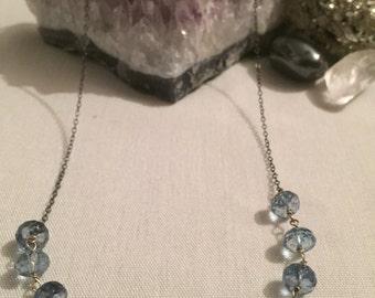 Blue Quartz and Silver Necklace