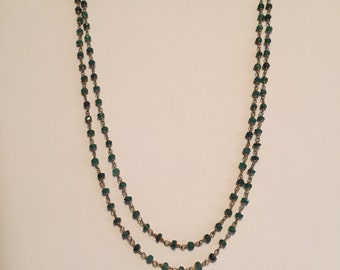Double Strand Faceted Emeralds