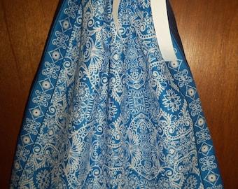 Blue and White Print Bandana Dress, BandanaTop. ONE SIZE. Ready to Ship
