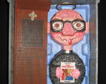 Wall Sculpture Mixed Media Assemblage, Recycled Art, Religious Art Story Box