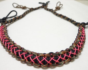 Paracord Duck/Goose Call Lanyard Camo Black and Pink Stitched