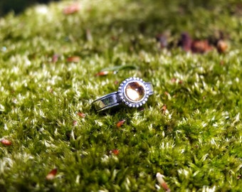 Viking silver ring with inset citrine and granulation