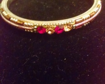 Vintage Red Rhinestone Bangle,Gifts Under 10.00 Gifts for Her, Bangle Bracelets, Bangles, Accessories, Vintage Bracelets,Rhinestone Bracelet