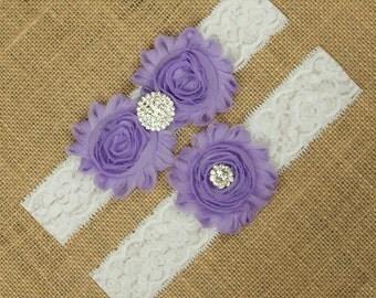 Light Purple Garter, Light Purple Wedding Garter, Lavender Purple Garter, Purple Bridal Garter, Light Purple Garter, Garter Set, SCWS-P07