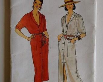 Vintage 1980's Vogue 7328 Sewing Pattern Misses Loose Fitting Shirt Dress