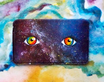 Business Card Holder/ Colorful Galaxy Painting/ Rainbow Eyes
