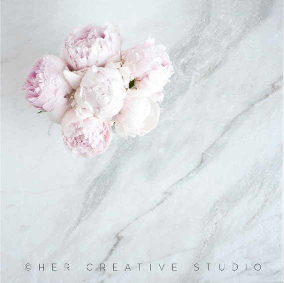 Styled Mockup Square Marble Background With Pink Peonies
