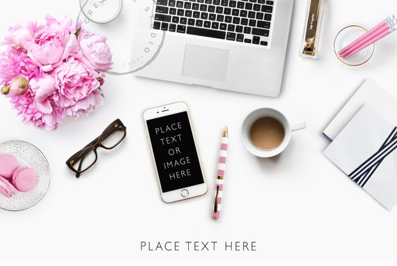 Styled Desktop Flatlay Pink Peonies Iphone And Laptop