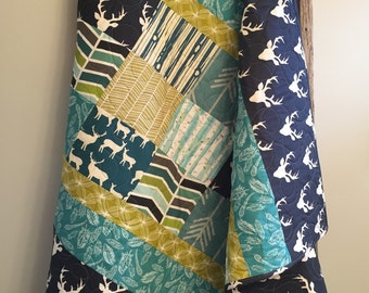 Baby Boy Quilt Deer Arrows Stag Bear Antlers