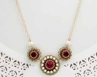 Gold necklaces for women, Mom Gift, Flower necklace, Red crystal necklace, Floral necklace, Romantic necklace, Pearl & crystal necklace