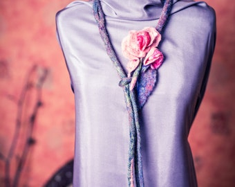Rose Felted Necklace