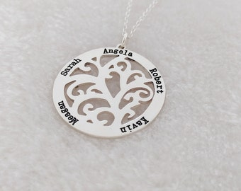 Mother's Day Gift,Family Tree Name Necklace,Family Tree Necklace,Tree of Life Necklace,Personalized Silver Tree Necklace For Mom