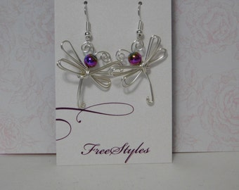 Dragonfly Earrings, Wire Wrapped Dragonfly Earrings, Silver Dragonfly Earrings, Dragonfly Jewelry, made in USA, hypo-allergenic