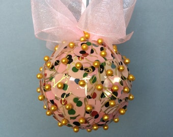 Pink & Gold Sequin Christmas Ornament/Handcrafted