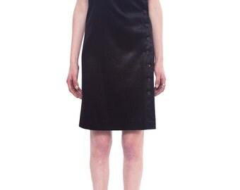 ANN DEMEULEMEESTER Adjustable Strap Halter Dress SIZE 38 Black Coated Sheen