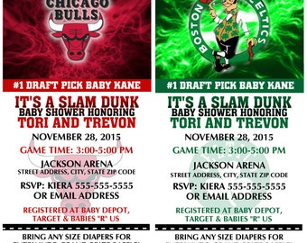 Printable Baby Shower NBA Basketball Ticket Invitations Invitations with diaper raffle stub Choose your team