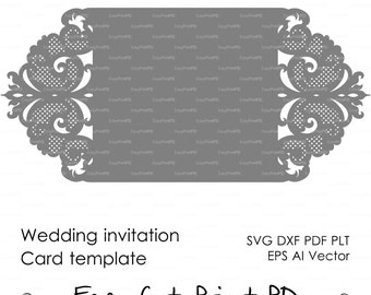 Wedding invitation Pattern Card Template Lace folds (studio V3, svg, dxf, ai, eps, png, pdf) lasercut Instant Download Silhouette Cameo