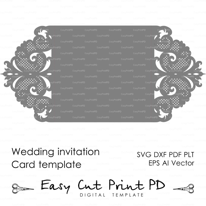 Wedding Invitation Pattern Card Template Lace Folds Studio