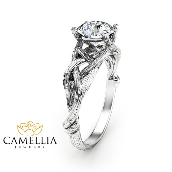 branch wedding ring branch moissanite engagement ring 14k white gold moissanite 2055