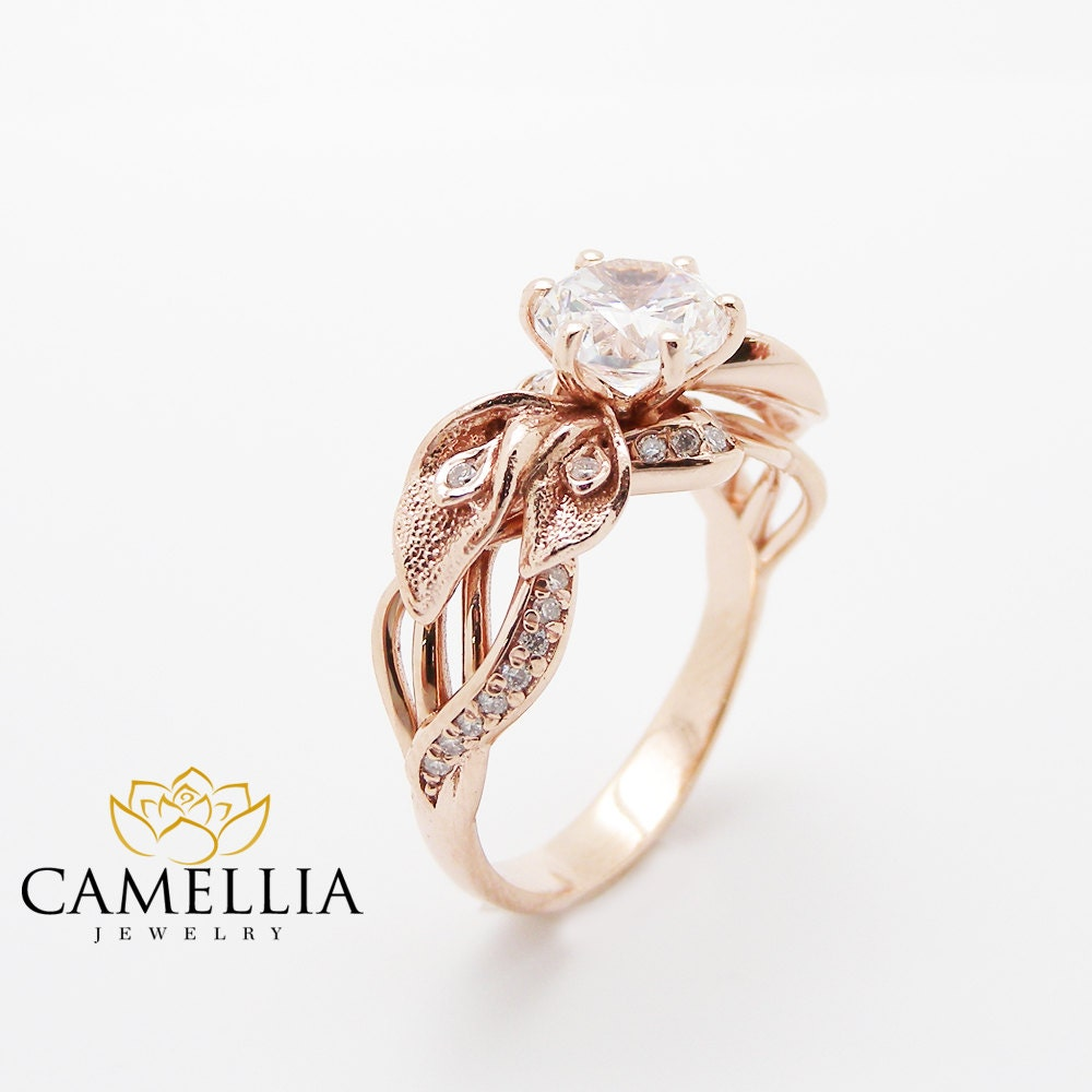 18K Rose Gold Diamond Engagement Ring Calla Lily Unique