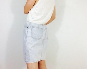 Vintage denim skirt white denim skirt denim pencil skirt denim high waisted skirt 90s skirt short denim skirt vintage denim skirt 90s denim