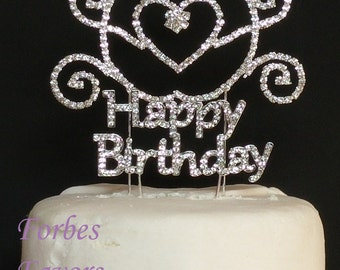 Real Rhinestone Happy Birthday with Carriage Set of 2 Silver Birthday Love Cake Topper By Forbes Favors