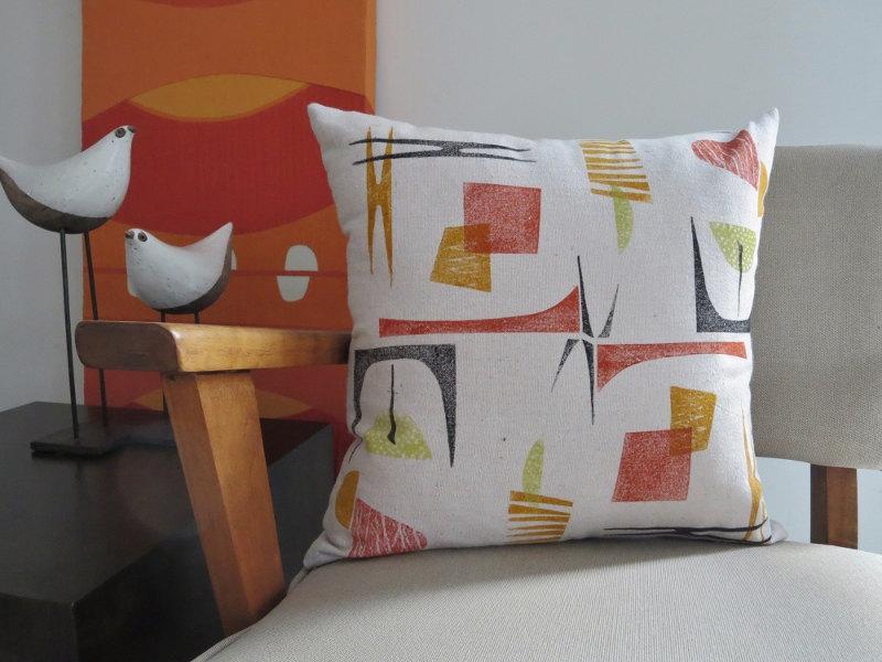Mid Century Modern LookThrow Pillow CoverAtomicOrange