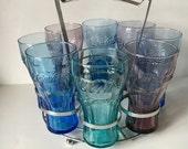 Vintage Drinking 8 Glass Set with Carrier, Vintage Cocacola Glasses, purple coke glasses, blue coke glasses, green coke glasses, 50s decade