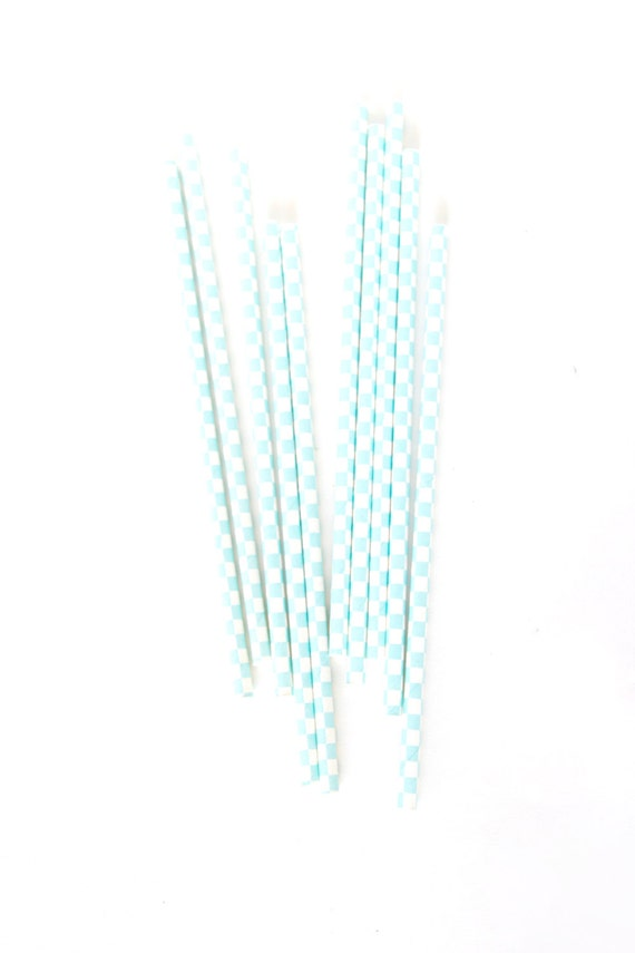 CLOSEOUT SALE Baby Blue and White Checkered Straws 15 Count