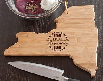 New York State Shaped Cutting Board, Engraved New York Shaped Cutting Board