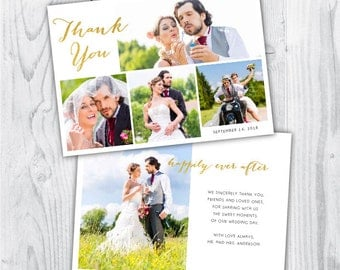wedding thank you photo card / wedding thank you card / wedding thank you photo / wedding thank you card template / gold / photoshop / PSD