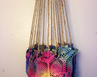 Colorful 100% Recycled Hanging Crotche Plant Holder