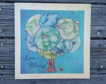 Love Blooms 12x12 Wood Print
