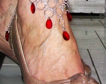 Ankle jewelry, anklet wife, jewel oriental ankle, jewel triangular ankle, ankle with red beads gem