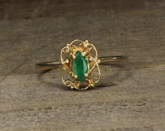 Estate, 14K Yellow Gold Ring Green Tourmaline