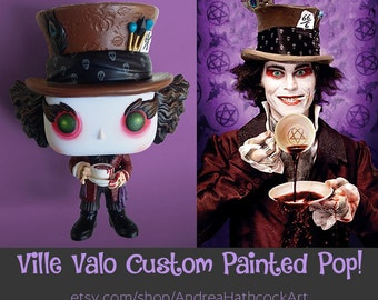 Ville Valo Mad Hatter Inspired Pop! as He Appeared on the Cover of Metal Hammer Magazine - Custom Painted HIM Lovemetal Heartagram
