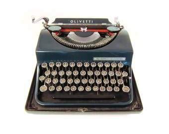 1945 - Olivetti Invicta Ivrea MP1 Typewriter - Very Rare - Navy Blue - Includes Complete Case and Ribbon - Cleaned and Working